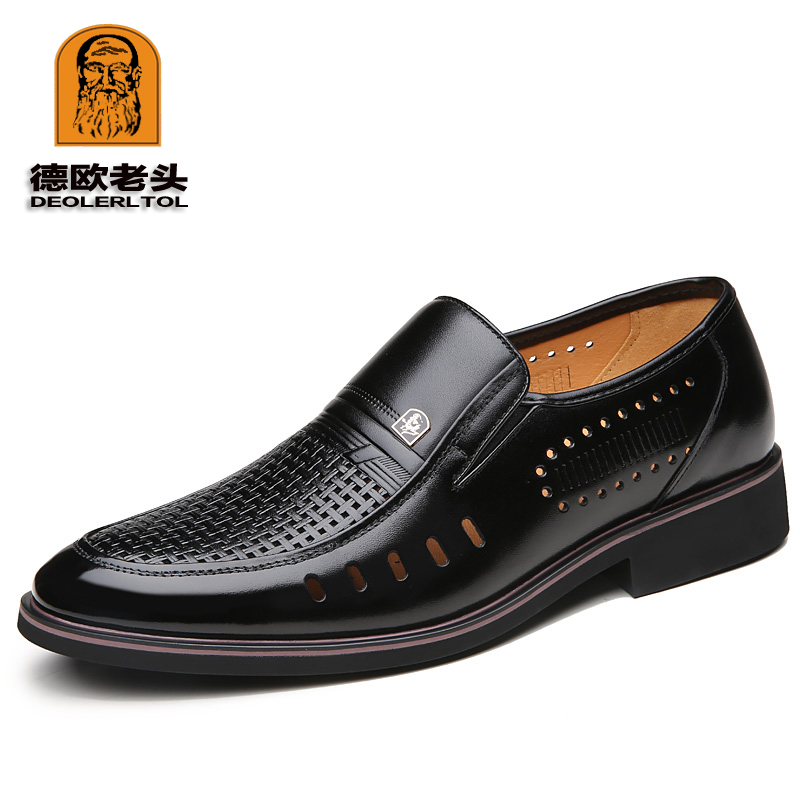 2019 Men Summer Leather Shoes Pointed toe Quality Cowhide Black Leather Soft Man Breathble Hole Shoes2019 Men Summer Leather Shoes Pointed toe Quality Cowhide Black Leather Soft Man Breathble Hole Shoes