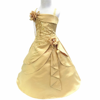 Gorgeous Flower Girl Dresses with Hoop Inside Kid Embroidery Satin Beaded Long Party Graduation Gown Baby Clothes Vestido - discount item  20% OFF Children's Clothing