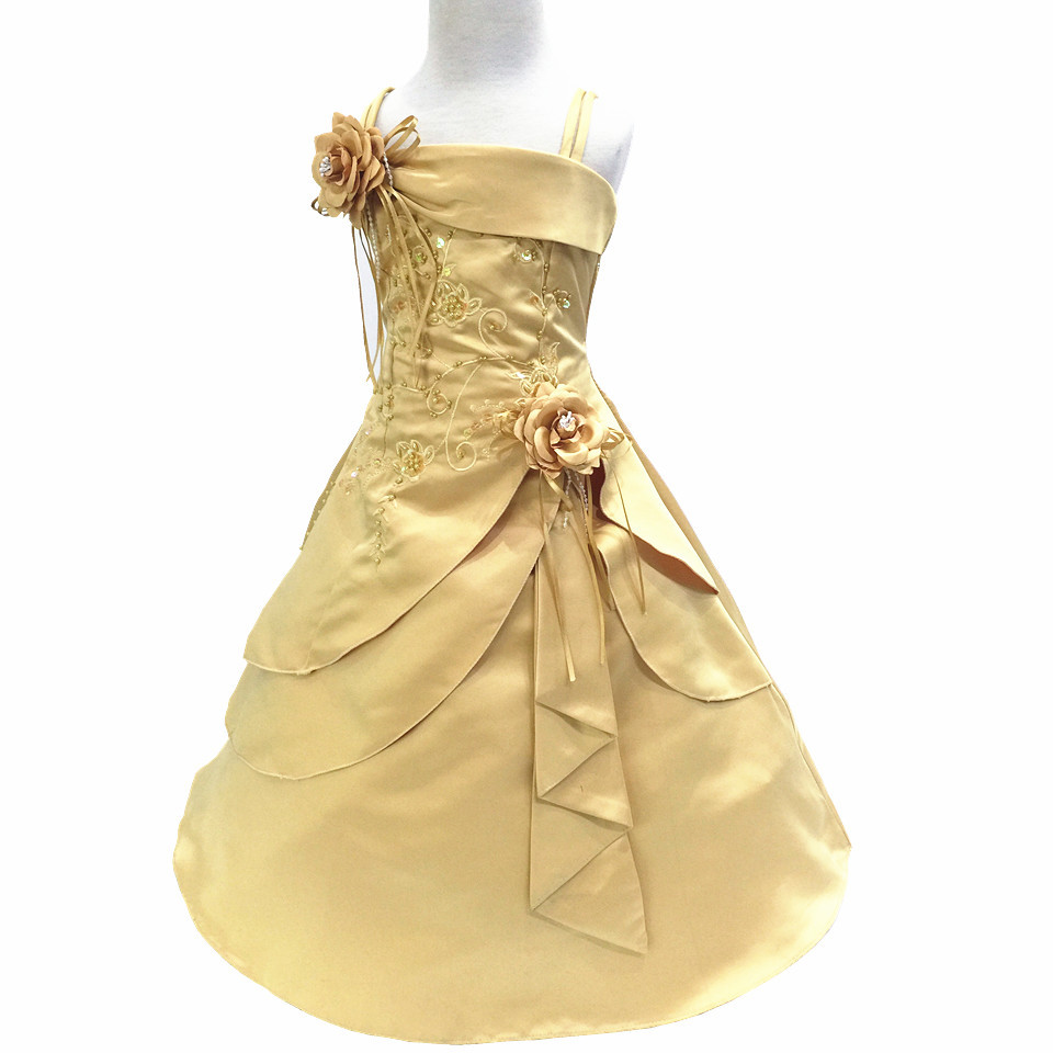 Gorgeous   Flower     Girl     Dresses   with Hoop Inside Kid Embroidery Satin Beaded Long Party Graduation Gown Baby   Girl   Clothes Vestido