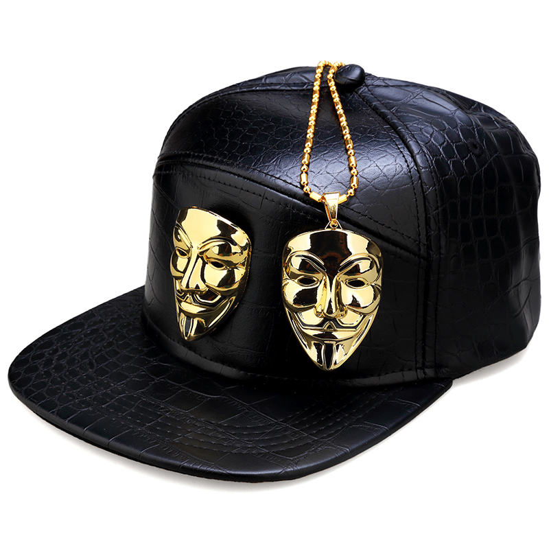 NYUK Trendy Metal V For Vendetta Mask Baseball Cap Leather Belt Buckle Adjustable Flat Birm Cool Street Boy Men Snapback Hat Set v for vendetta anonymous guy fawkes resin mask white