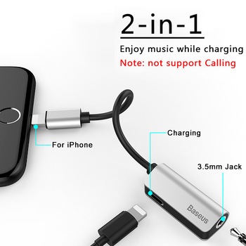 Baseus Aux Audio For Lightning to 3.5mm Jack Connector Earphone Headphone OTG Adapter For iPhone Xs Max Xr X 8 7 Plus Splitter 1