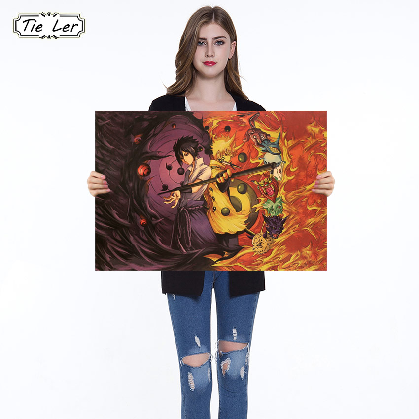 Naruto Poster Classic Anime Cartoon Kraft Paper Poster Painting Wall Stickers Home Decorative 51.5X36cm
