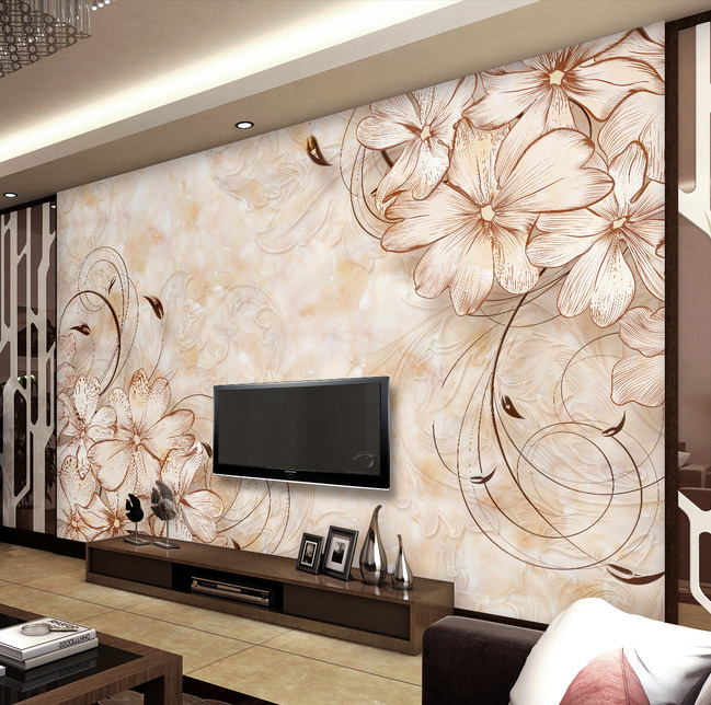 Wallpapers for drawing room home design for Designer mural wallpaper