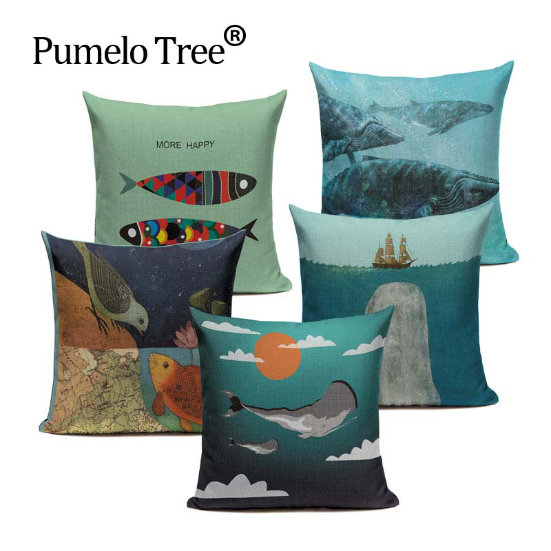 Fashion Nordic Style Blue Fish Marine Biology Cushion