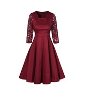 New Summer Vintage Dress 50s 60s 2017 Wedding Party Lace Hollow Out Long Sleeves Sexy Rockabilly