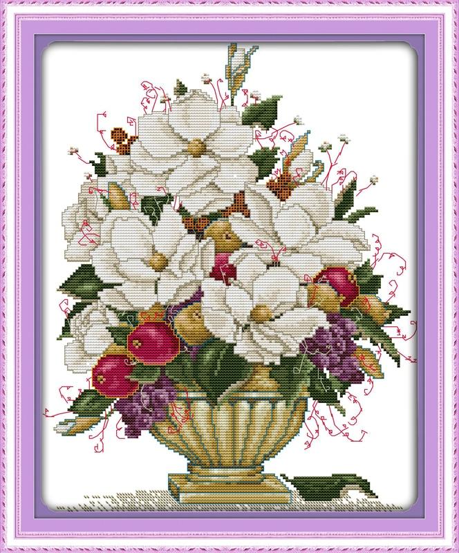 La Belle Vase Fleur De Toile De Coton Dmc Point De Croix Kits