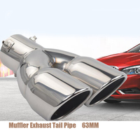 63MM Universal Silver Double Outlet Stainless Steel Chrome Muffler Exhaust Pipe Tip End Trim Modified Tail Throat Liner Pipe