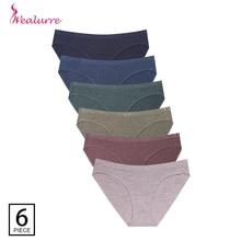 Wealurre 6Pcs ชุดชั้นในสตรีต่ำเอวผ้าฝ้ายเซ็กซี่สุภาพสตรีชุดชั้นในร้อนขายบิกินี่กางเกง
