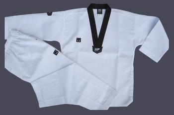 Caliente principiantes uso Mooto dobok de taekwondo ropa niño adulto cuello en V MOOTO taekwondo traje de entrenamiento de Taekwondo uniforme venta al por mayor