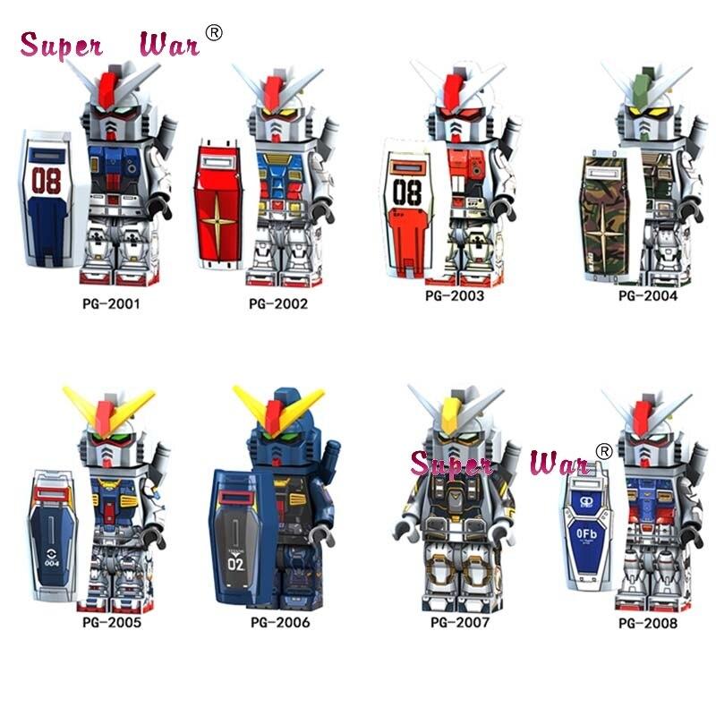 8pcs Super heroes figure GUNDAM series RX 178 RX79 RX 78 GP01 MK 11 Brick Action