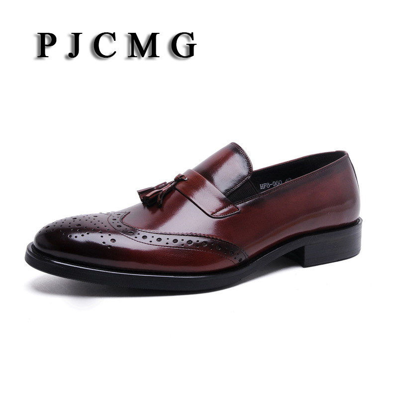PJCMG New Breathable Black /Brown Loafers Mens Dress Genuine Leather Slip-On Wedding Mens Casual Business Shoes With Tassel basic editions mens black genuine leather loafers with snakeskin patterns