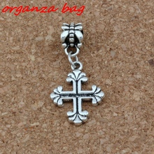15pcs/lot Dangle Antique Silver Vintage Crucifix Cross Charm Big Hole Beads Fit European Bracelet Jewelry 15x33mm A-274a
