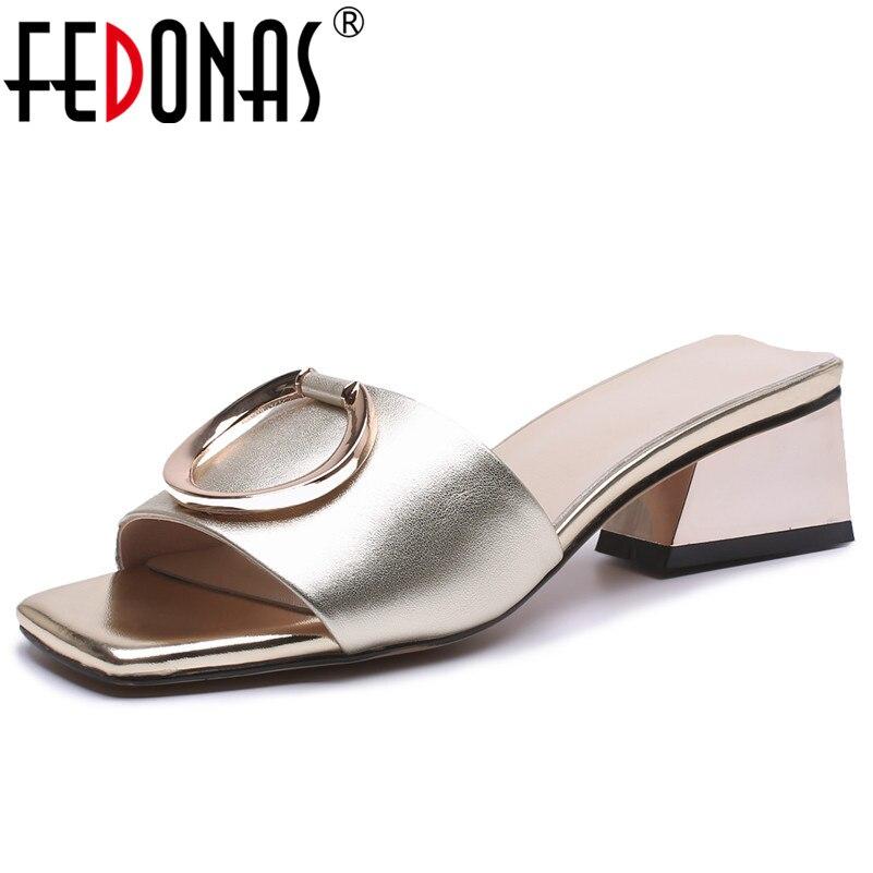 FEDONAS 2020 Women Summer Sandals Outdoor Slipper Flip flops Elegant Shoes Woman Genuine Leather Fashion Slippers