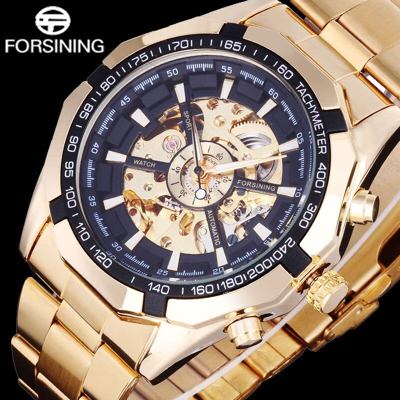 2416cbdd005 FORSINING Homens Marca Esqueleto Mecânico Automático Relógio de Luxo  Relógios de Ouro dos homens de Aço