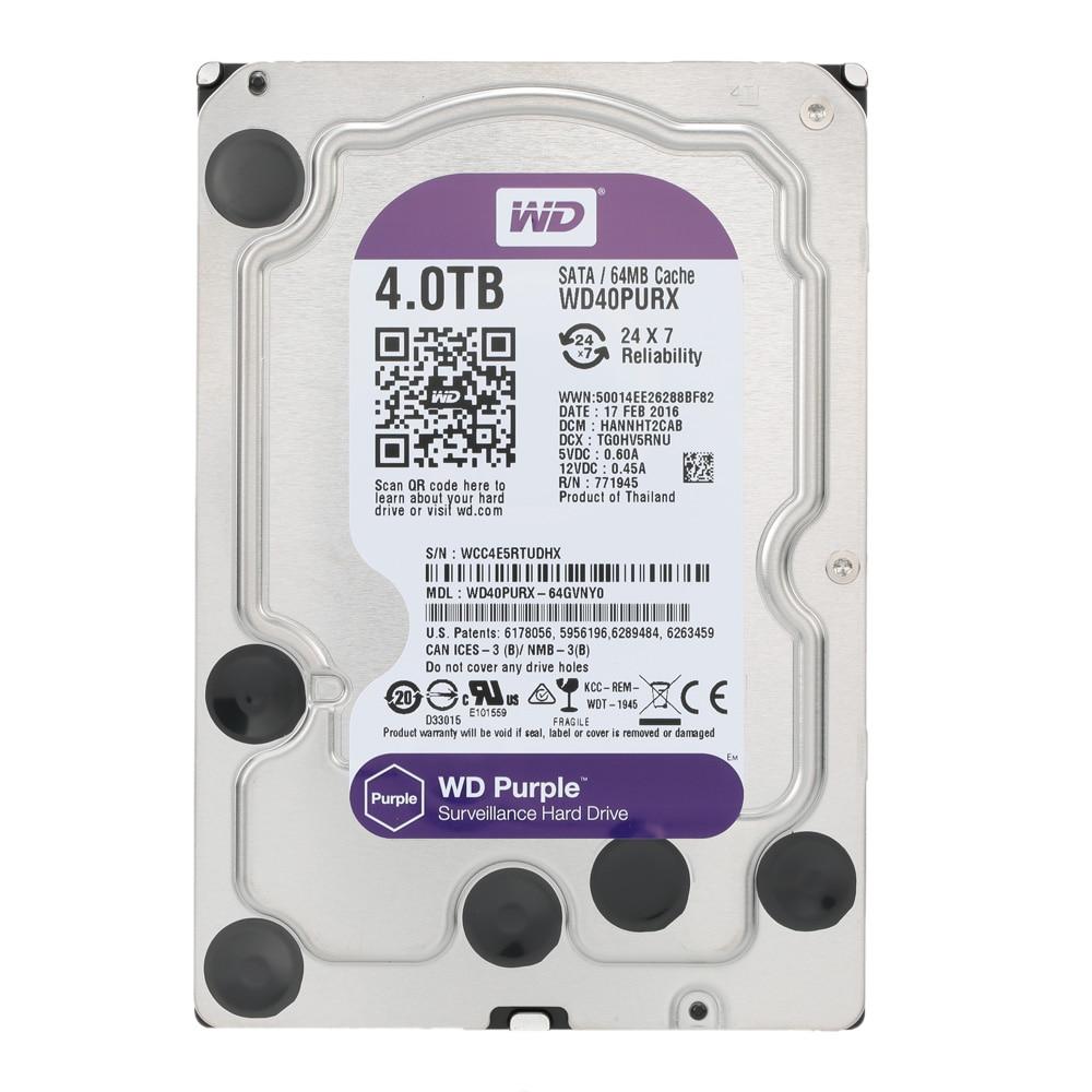 """Western Digital WD Surveillance Purple 4TB internal HDD SATA 6.0Gb/s 3.5"""" Hard Drive for cctv Camera AHD DVR IP Camera WD40EJRX"""