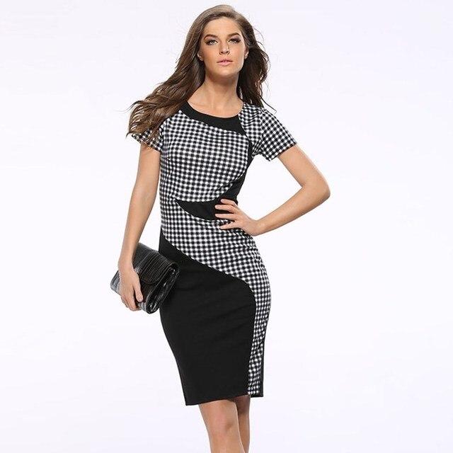 2017 professionnel Féminin bureau noir couture points tricoté stretch  crayon robe femme taille haute longueur au