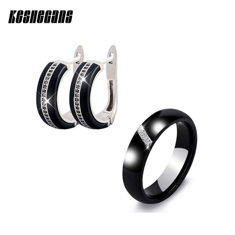 купить New Ceramic Jewelry Sets Cubic Zircon Earrings Ring Set Black White Chinese Porcelain Healthy Material Fashion Jewelry For Women по цене 577.98 рублей