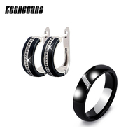 New Ceramic Jewelry Sets Cubic Zircon Earrings Ring Set Black White Chinese Porcelain Healthy Material Fashion