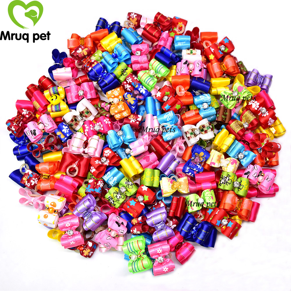 US $18 89 10% OFF|100pcs Small Pet Puppy Dog Cat Hair Bows with Rhinestone  Mixed colors and Patterns Pet Dog Grooming Accessories Pet Supplies-in Dog
