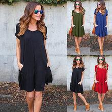 8bd49097 Moda verano mujeres vestido ShortSleeve Casual Sexy v-cuello elegante Mini  vestidos ropa 2018(