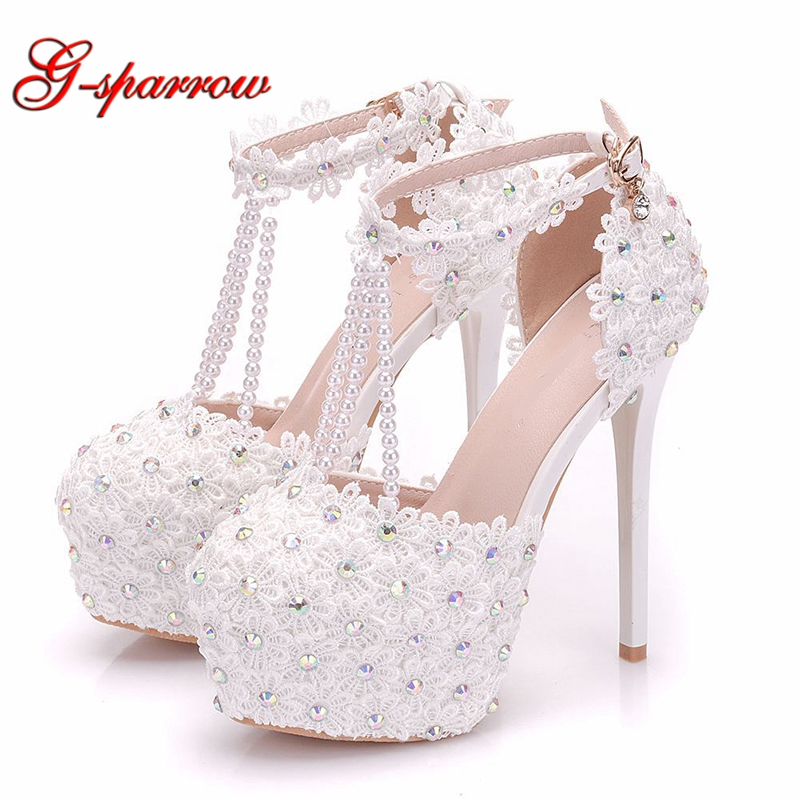 Ayakk.'ten Kadın Pompaları'de 2019 Beyaz Dantel Düğün Ayakkabıları Beyaz Dantel Boncuk T askıları Ayak Bileği Sapanlar Gelin Ayakkabı 14 cm Süper Yüksek Topuk gelinlik Ayakkabı Pompaları'da  Grup 1