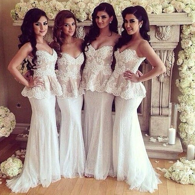 beba4cc72c56 Beautiful White Lace Bridesmaid Dresses Sweetheart Sleeveless Mermaid Floor  Length Applique Lace Long Bridesmaid Dress