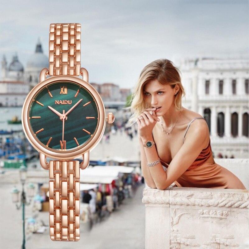 Women Watches New NAIDU Rose gold Silver Ladies Bracelet Watch