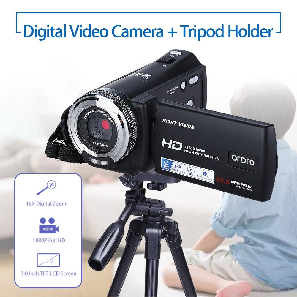 ORDRO HDV-V12 3.0 LCD 1080P 20MP FHD Digital Camera DVR Night Vision Cam Infrared CMOS Sensor 16x Zoom Microphone + Tripod ordro hdv v12 3 0 lcd cmos sensor 1080p fhd digital camera dvr usb cam dv 16x zoom video recorder night vision camcorder