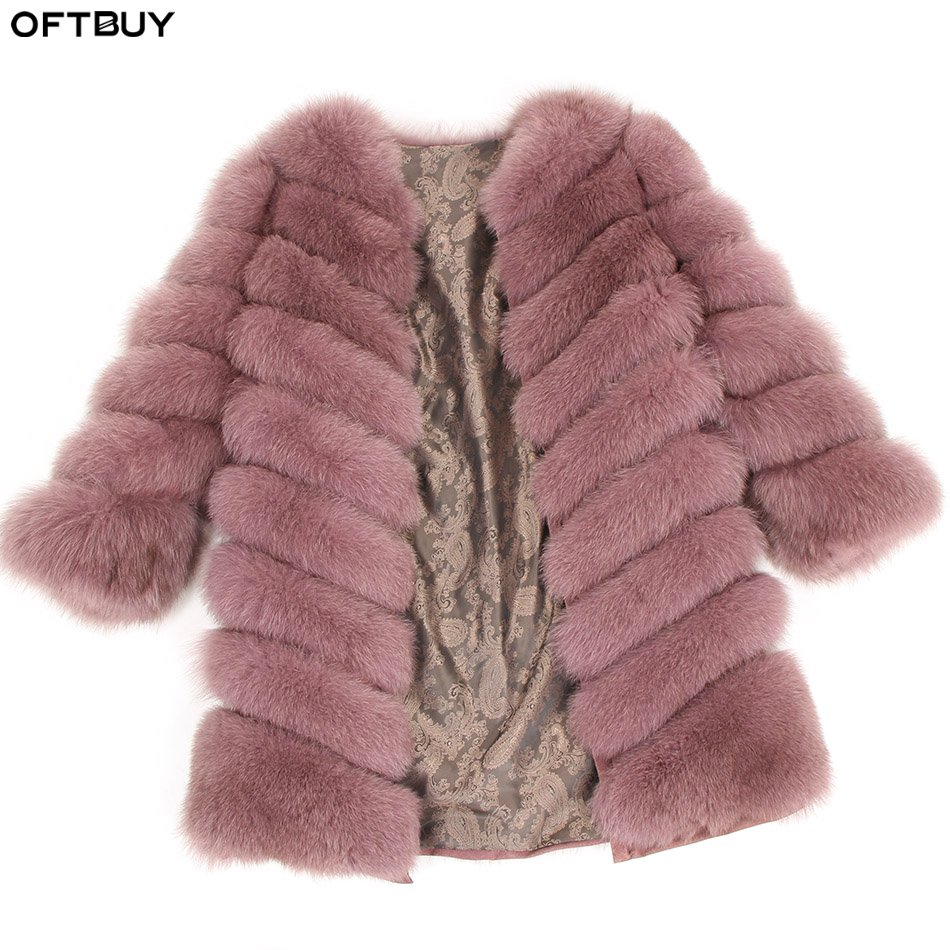 OFTBUY 2019 Real Fox Fur Coat Winter Jacket Women Detachable Vest Thick Warm Streetwear Outerwear New Fashion Spring
