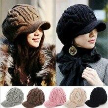 Women Winter Warm Knit Hat Wool Snow Ski Caps With Visor