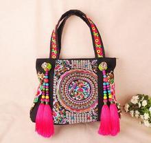 Bunte 2016 Ethnische stickerei taschen! mode persönlichkeit Nationalen stil quaste perlen umhängetasche dame reise einkaufen handtasche