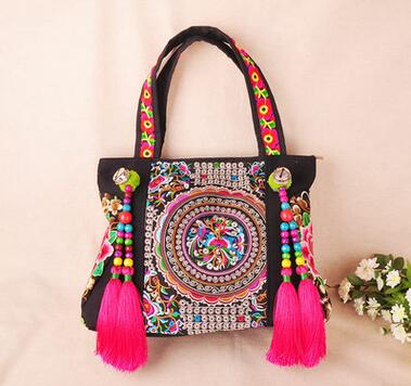 Colorful 2016 Ethnic embroidery bags!fashion personality National style tassel beads shoulder bag lady travel shopping handbag