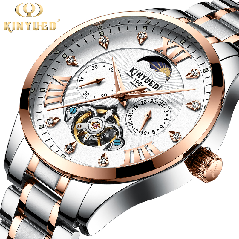 KINYUED Brands Skeleton Watch Automatic Men Luxury Mechanical Watches Tourbillon Clock Mechanism Moon Phase Dress montre homme jam tangan pria gold original