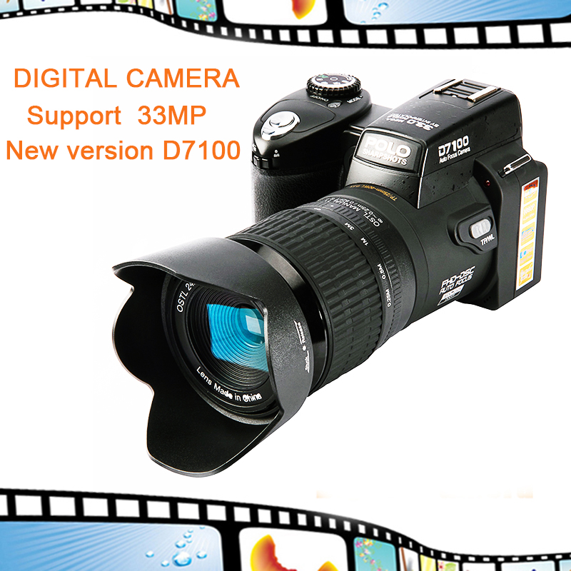 D7100 Digital Camera 13MP Support 33MP Full-HD Auto Focus with 24x Optical Zoom Telephoto Lens+Wide Angel Lens HD Camcorder