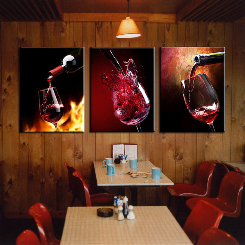 3 Pieces Painting Canvas Prints Sets Cool Wine For Happy Mood Dinner Wall Pictures For Living Room Home Decor Cuadro Frameless