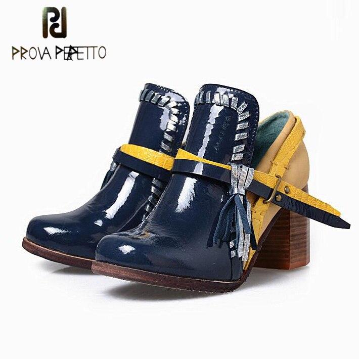 Prova Perfetto Fashion Buckle Tassel Slip On Women Pumps Sheepskin Mixed Color Chunky High Heel Retro Martin Boots Single Shoes