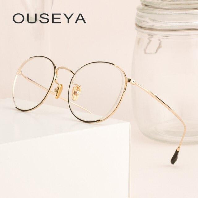 Aleación gafas marco mujeres De oro De lujo Retro claro Vintage ...
