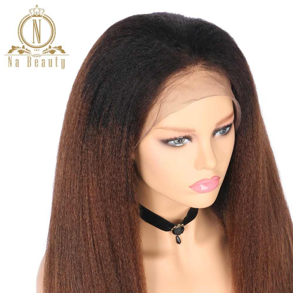 4248a749ce0 ... Kinky Straight 13 4 Lace Front Wigs Human Hair 1B 30 Color Ombre Color  Wigs ...