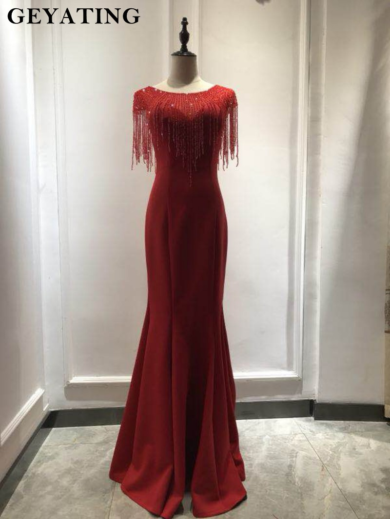 5a5b671ea5a Wine Red Evening Party Gowns Elegant Long 2019 Beading Tassel Navy Sky Blue Mermaid  Prom Dresses