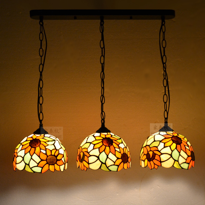 Tiffany Baroque Stained Glass Suspended Luminaire sunflower E27 110-240V Chain Pendant lights for Home Parlor Dining Room