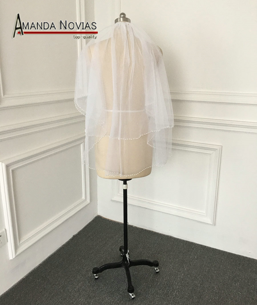 Real Sample Pictures 1 4 Meter Two Layer Beading Veil