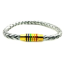 Silver Leather Rainbow Stainless Steel Magnet Buckle Gay Pride Bracelet