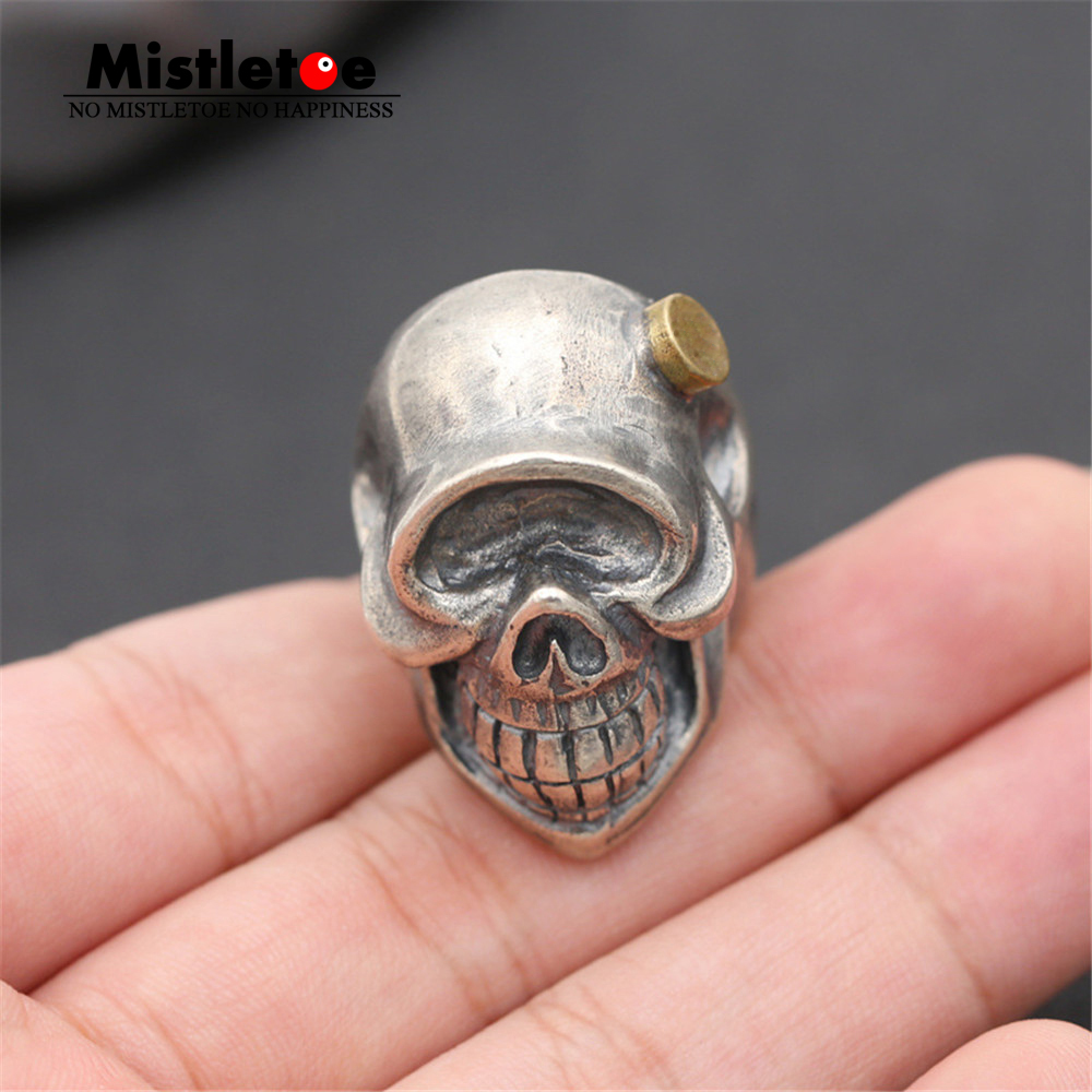 Genuine 100% 925 Sterling Silver Vintage Retro Punk Lucky Skull Ring For Women Men Fashion Jewelry vintage retro 100