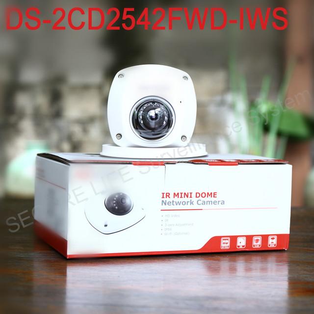 Frete grátis DS-2CD2542FWD-IWS Áudio 4MP WDR Mini Dome Câmera de Rede IP, cctv sem fio da câmera P2P POE