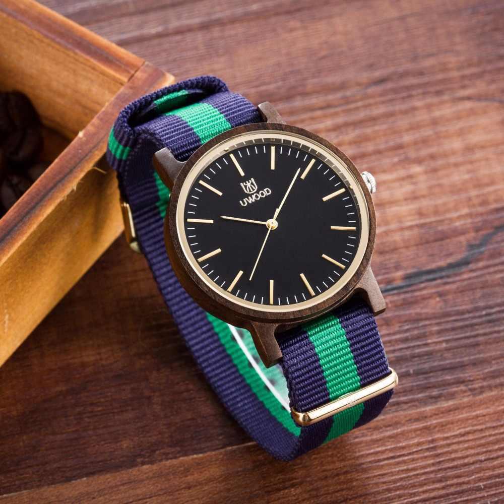 Reloj de pulsera de madera para hombre UWOOD de marca 2018, reloj de madera de bambú para hombre, relojes casuales de cuarzo deportivos para hombre mejor regalo para mujer