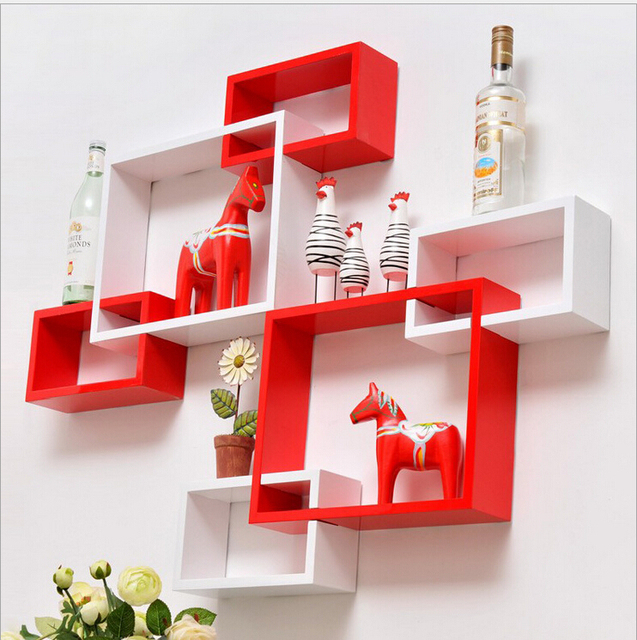 3pcs / Lot Three Piece Wall Hanging Shelf Creative Lattice Trellis  Partition Wall Shelving Decorative