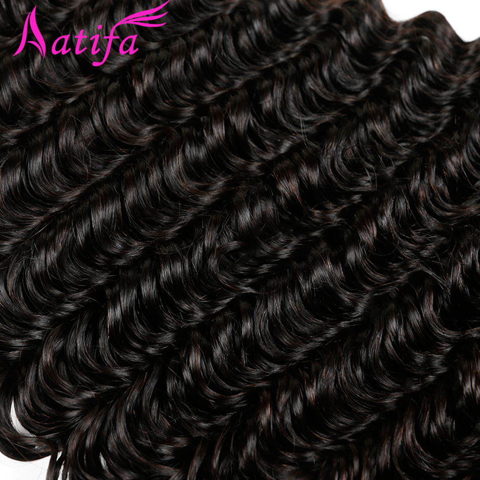Malaysian Deep Wave Hair 1/3/4 pcs Bundles de tissage de cheveux - Cheveux humains (noir) - Photo 4