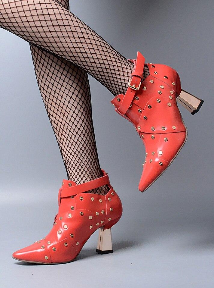 2017 début du printemps nouvelles bottes mode Martin chaussures femmes bottine Chelsea talons hauts boucle Rivet clouté botte femmes rouge en cuir - 4