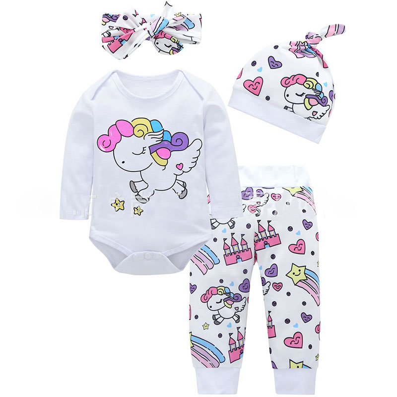 Baby Clothes Unicorn   Romper   + Pants Hat For Baby Boys Girls 3 6 9 12 18 24 Month Toddler   Rompers   NewBorn Overall Infant Jumpsuit