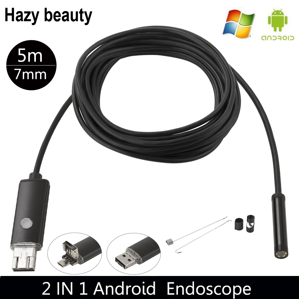 Hazy beauty 7mm Lens 5M Android USB Endoscope Camera Flexible Snake USB Pipe Inspection Android Phone OTG USB Borescope Camera hazy beauty usb android endoscope 8mm 5m length endoscope 2m hd inspection snake camera waterproof snake pipe borescope cam